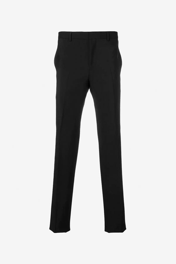 classic black suit pants with straight legs and stripes down the legs