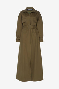 Long khaki trenchcoat with long sleeves and front pockets