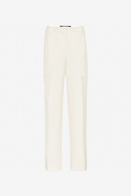 Classic creme colored pants with press folds and long legs