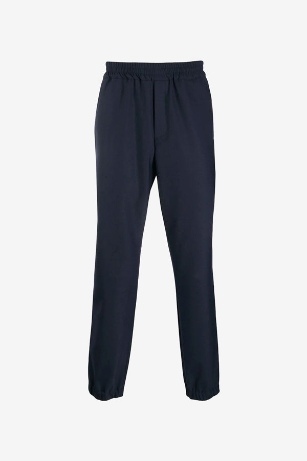 Classic blue sweatpants with cropped legs and elastic waistband
