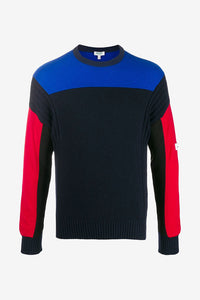 Color-blocked sweater in blue and red shades with long sleeves
