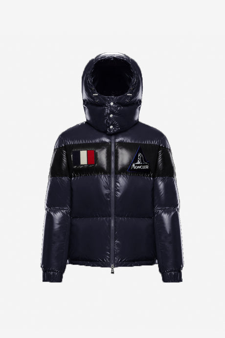 Navy colored down jacket from Moncler with hood made in shiny nylon