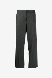Grey wool pants with straight legs