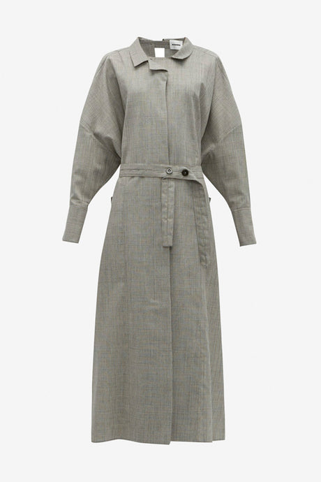 Long grey dress from Jil Sander in a fine wool blend