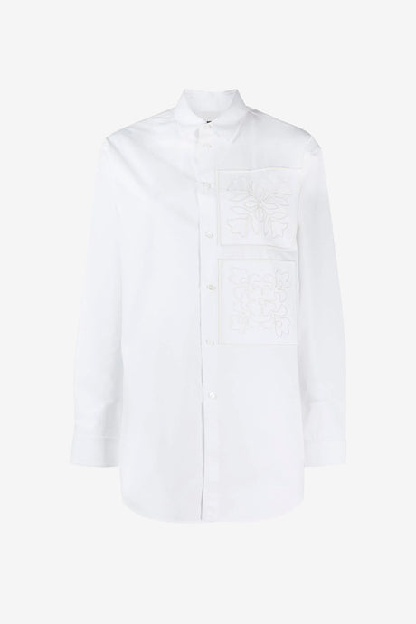 Oversized white shirt with embroidery design from Jil Sander