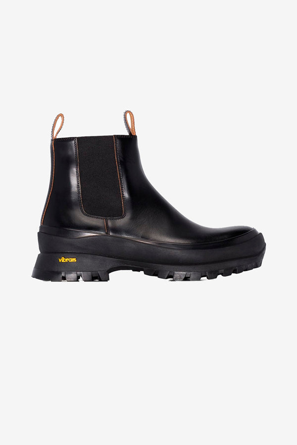Chunky leather boots from Jil Sander in black