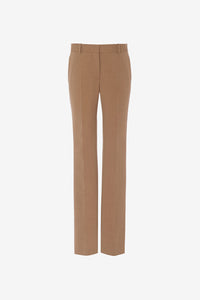 Camel colored pants with a classic fit