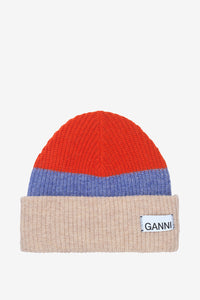 Chunky three colored knitted beanie from Ganni