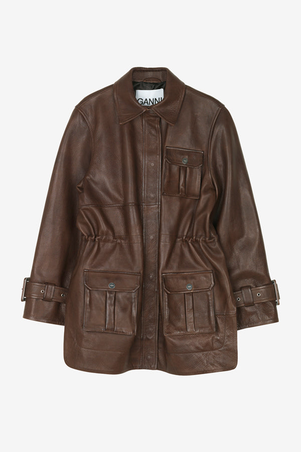 Oversized brown leather jacket with front pockets