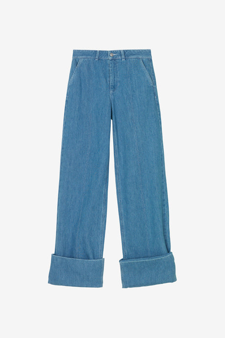 Wide denim blue pants from Ganni