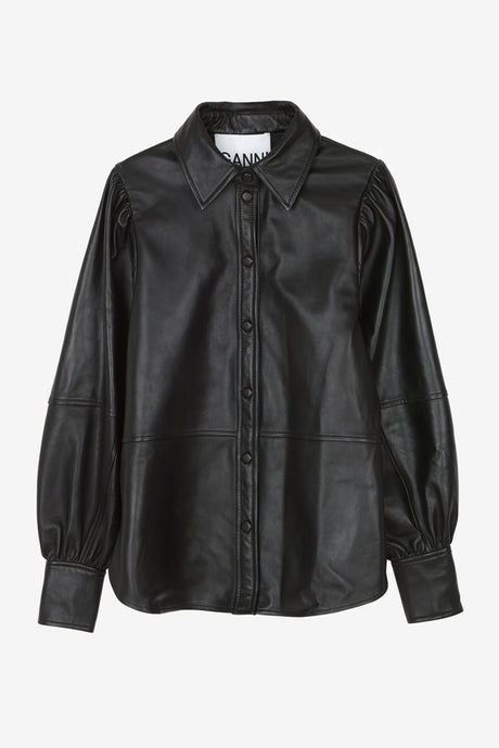 Lamb leather shirt with press buttons and balloon sleeves