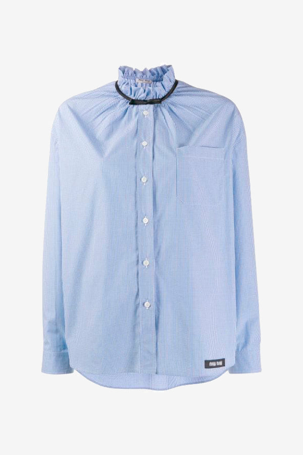 Cotton shirt in blue/white check with a bow around the neck