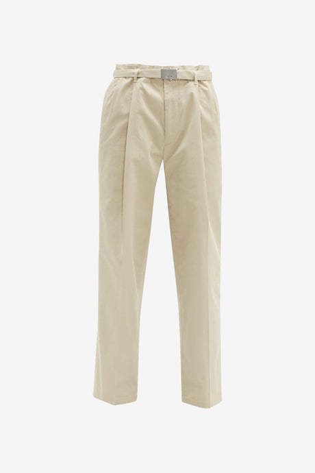 Pants with metal buckle belt