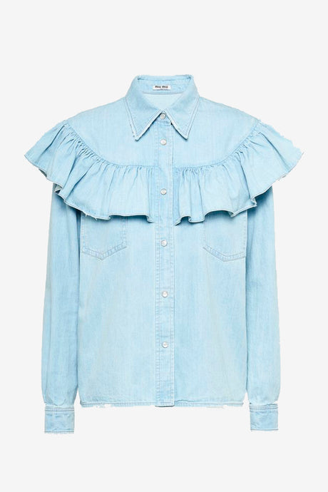 Light denim shirt with ruffles details and press buttons