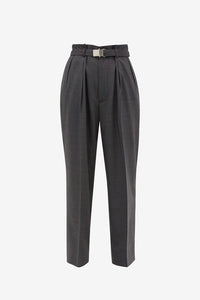 High waist wool pants with metal buckle belt