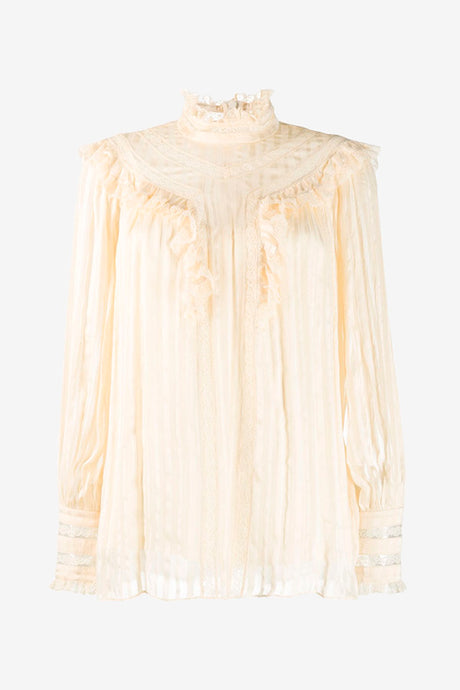 Silk blouse with lace details