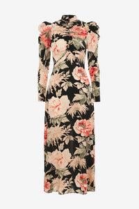 Silk dress with allover flower print