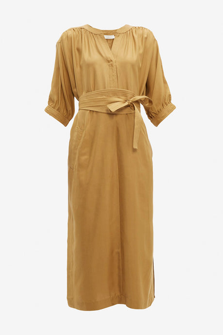 Silk dress with cropped sleeves and a waist belt