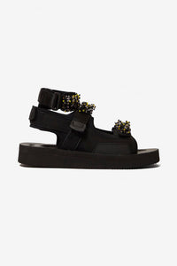Black Aurelia Sandal with Velcro-strap with yellow, black and clear beads.