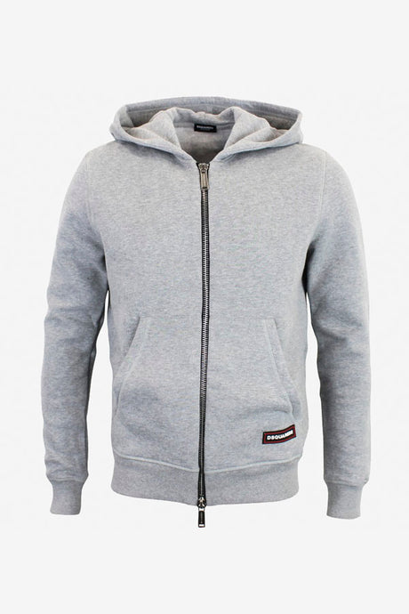 Grey hoodie with zip closure and two front pockets