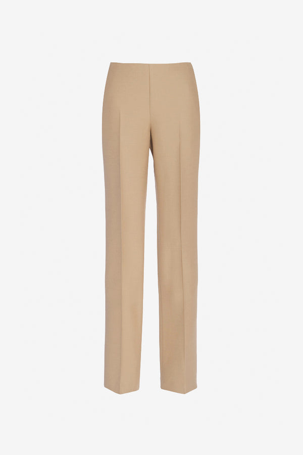 Beige pants with press folds and zip closure