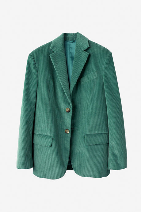 Boxy corduroy blazer in dusty green with flap pockets