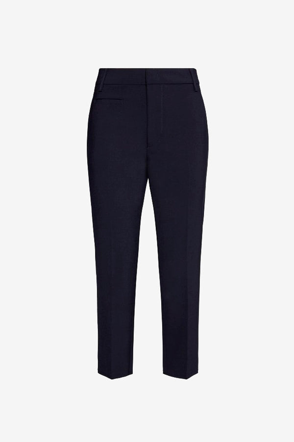 Cropped navy blue pants in wool blend