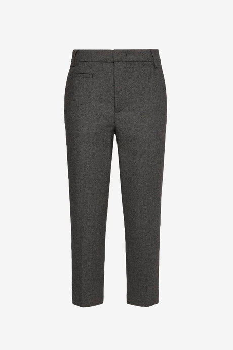 Cropped dark grey pants in wool blend