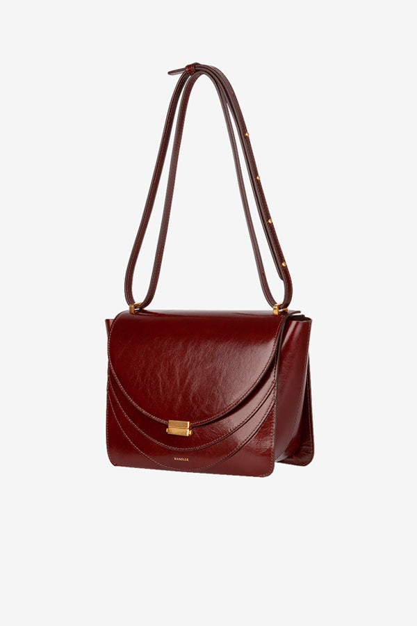 Italian calfskin bag in a dark brown color