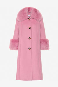 Saks Potts wool coat with fur and big buttons