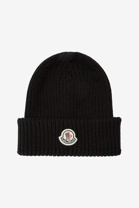 Rib-knitted wool hat in black from Moncler