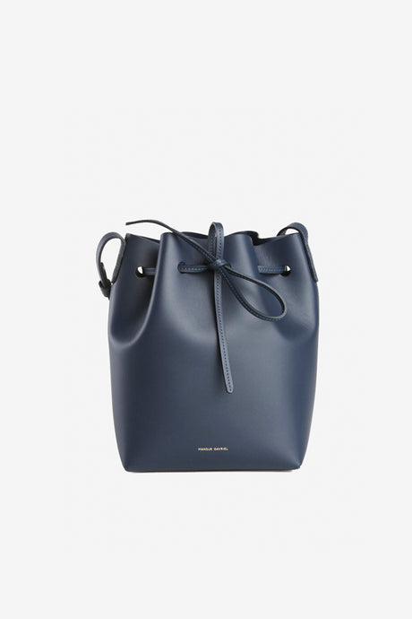 Italian Mini Bucket bag made in blue colored calf leather with adjustable strap
