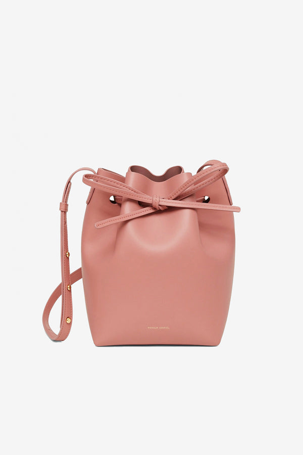 Italian Mini Bucket bag made in blush colored calf leather with adjustable strap