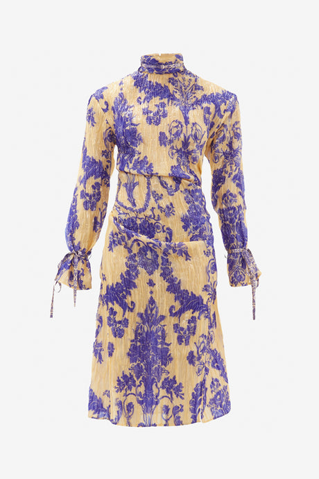 Silk-blend dress with long sleeves and floral embroidery