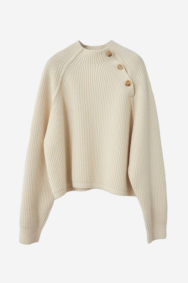 Rib-knitted sweater with buttons details