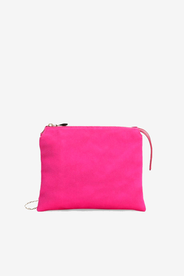 Pink leather bag with gold hardware