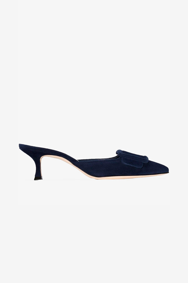 Suede navy blue pumps with kitten heel
