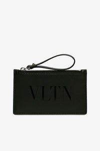 Small leather cardholder with printet VLTN logo and a zipper