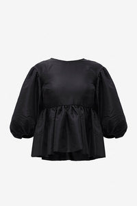 Alice black blouse with puff sleeves, and open back with velvet bows