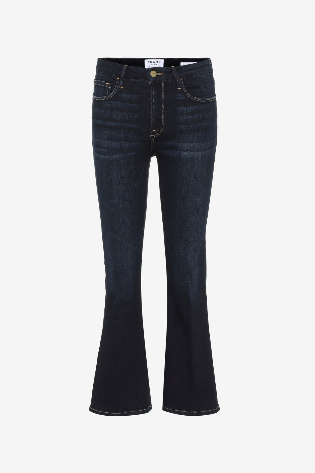 Blue flared jeans with bootcut and button zip closure
