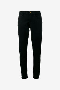 Straight leg jeans in black with cropped legs