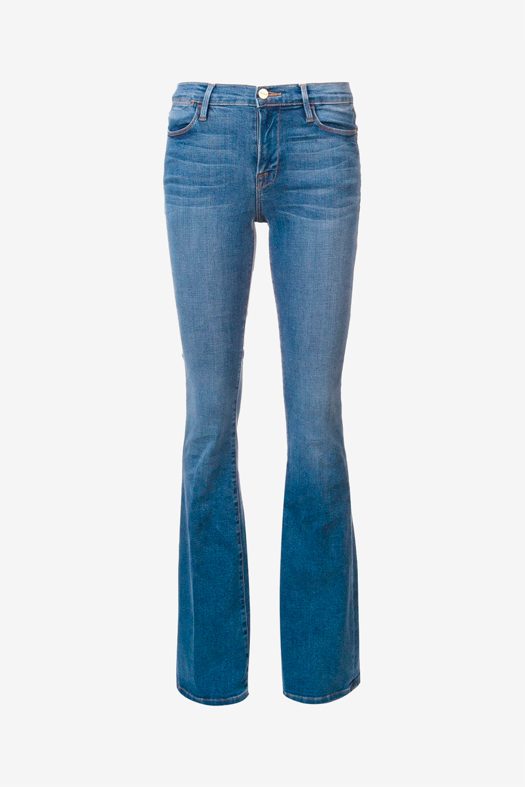 Light denim jeans with flared legs and belt loops