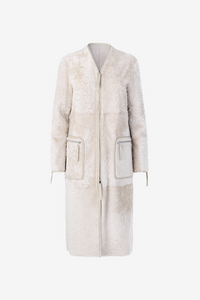 Birger Christensen white long shearling coat