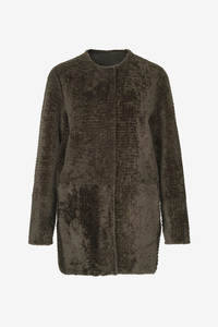 Birger Christensen Karole Shearling lamb coat in Green Burnt Olive