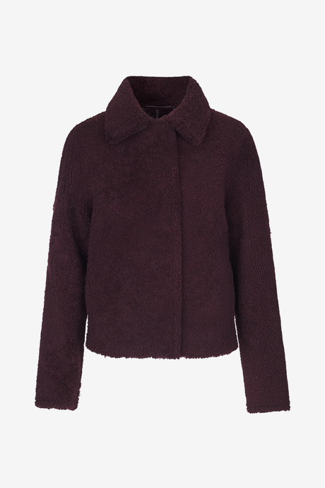 Birger Christensen Wera Shearling lamb coat in Brown Chokolade