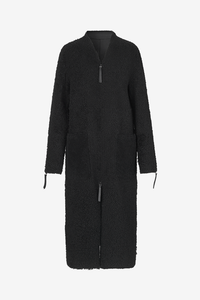 Birger Christensen Ressie Shearling lamb coat in Black with zipper