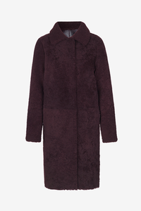 Birger Christensen Pilu Shearling lamb coat in Brown Chokolade