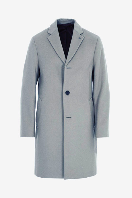 Midi length grey coat with button closure and two welt pockets