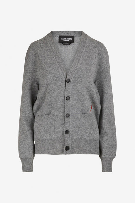 Grey wool cardigan with long sleeves