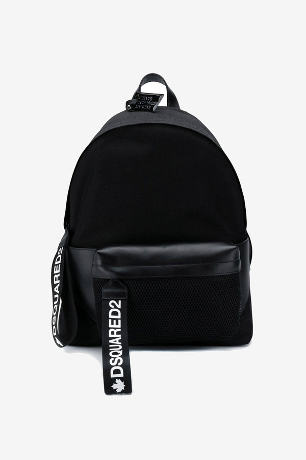 Black backpack printed straps zip closure bumbag